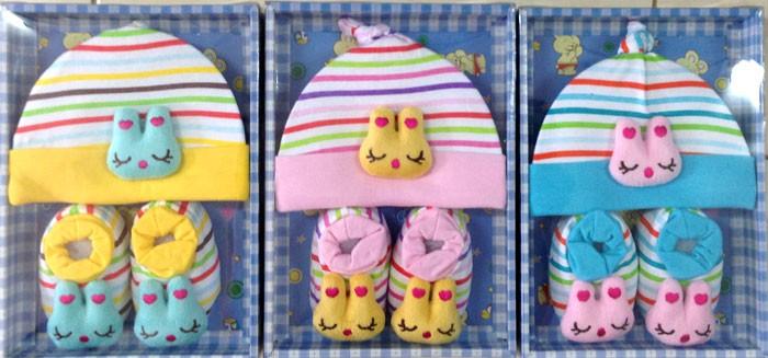 Baby Set Topi + Sepatu Boneka Salur