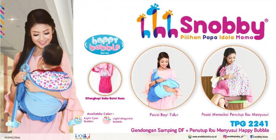 Gendongan Bayi Samping + Penutup Ibu Menyusui Happy Bubble Series Snobby TPG2241 Pink