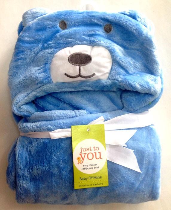Selimut Bayi Hoodie Bear Biru