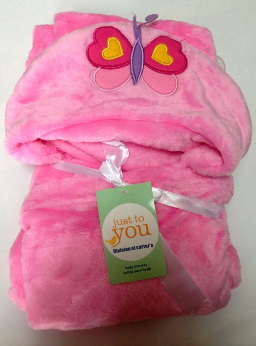 Selimut Bayi Hoodie Buttlefly Pink