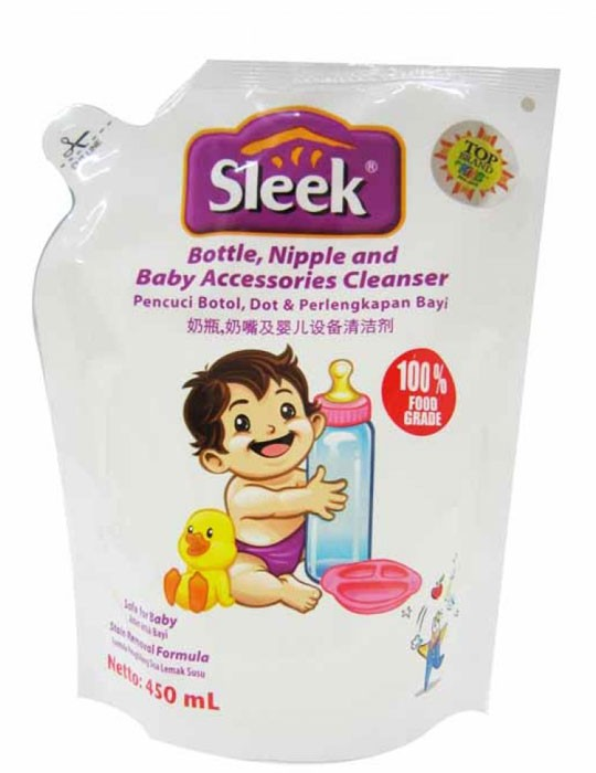 Sleek Bottle, Nipple, Baby Accessories Cleanser 450ml
