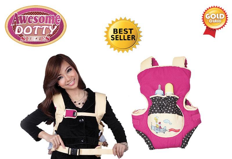 TPG1441 Snobby Gendongan Ransel 3 in 1 Saku Kerut Print + Topi Awesome Dotty (Violet)