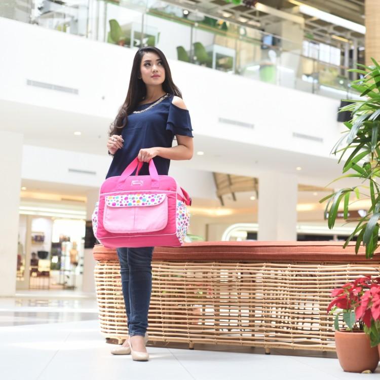 Tas Bayi Besar Saku Motif Happy Bubble Pink Snobby TPT2271