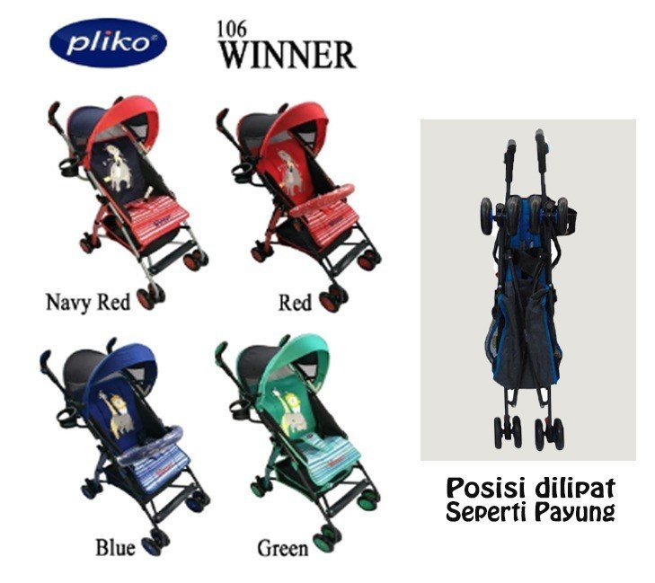 Baby Stroller Pliko Buggy Winner - Navy Merah