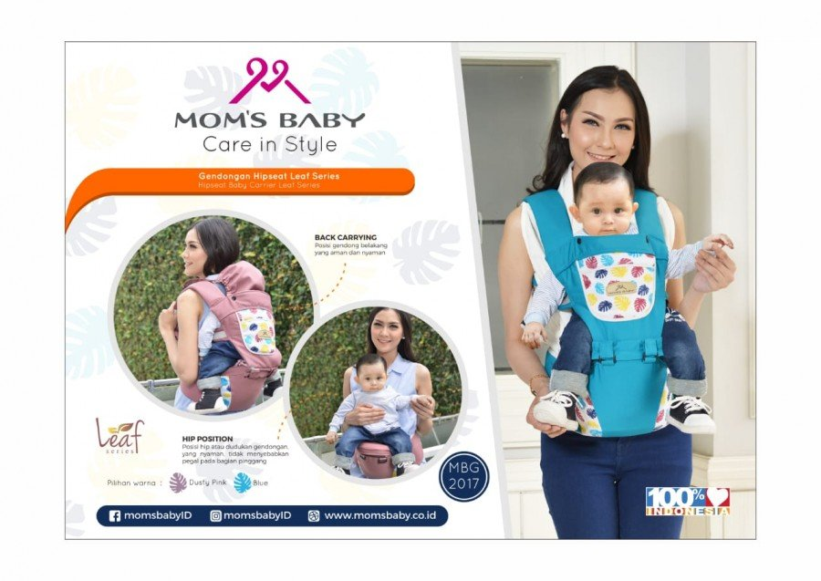 Gendongan Bayi Hipseat Leaf Series Moms Baby MBG2017 - Blue