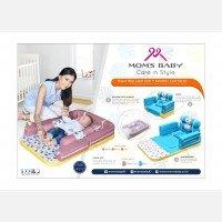 Kasur Bayi Lipat Sofa + Kelambu Moms Baby Leaf Series MBK4012 - Dusty Pink