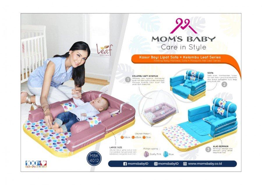 Kasur Bayi Lipat Sofa + Kelambu Moms Baby Leaf Series MBK4012 - Blue