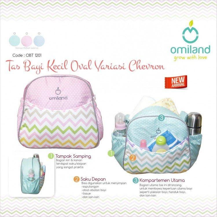 Tas Bayi Kecil Segi Variasi Print Chevron BIRU Omiland OBT1201