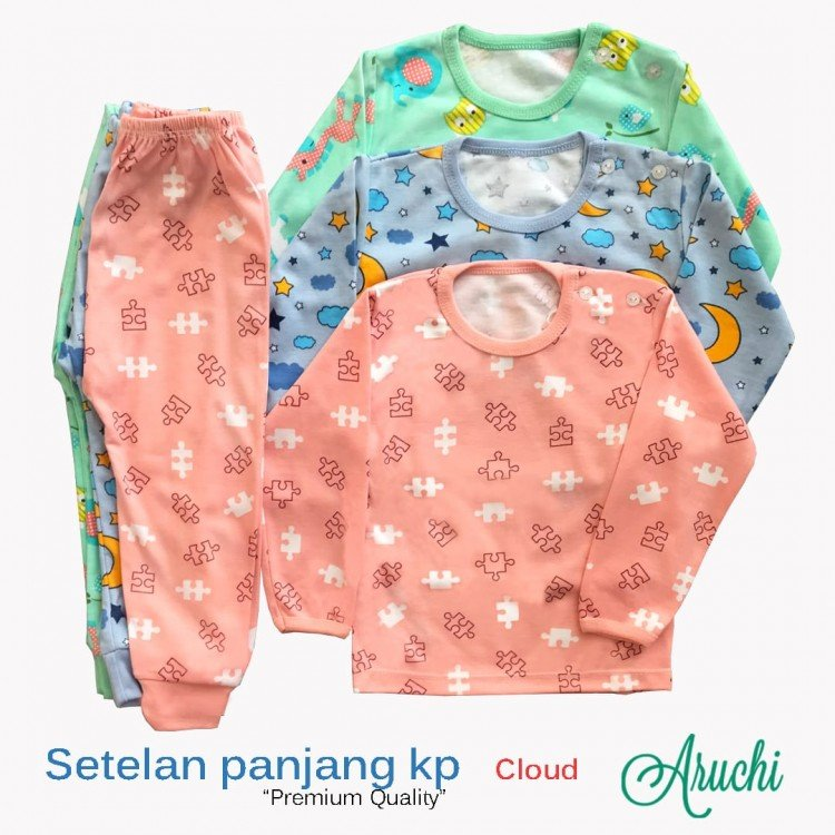 Setelan Baju Baby Panjang / Piyama / Baju Tidur Baby Aruchi M 20010098 (Premium Quality)