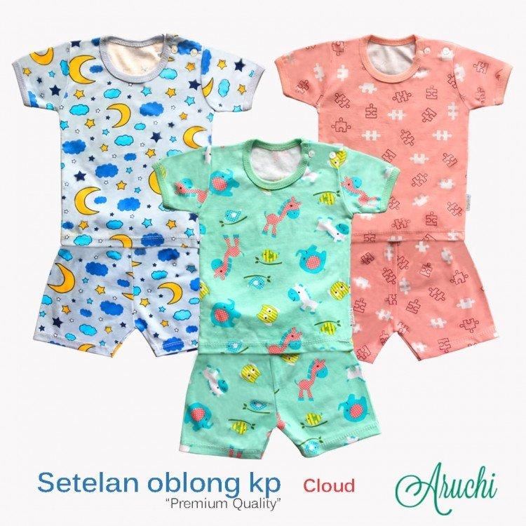 Setelan Baju Baby Pendek Baby Aruchi M 20010095 (Premium Quality)