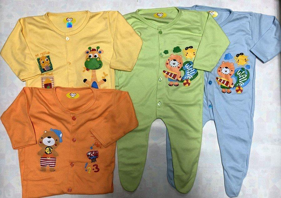 Sleepsuit Baby / Jumpsuit Bayi Warna Tutup Kaki 20020085