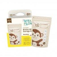 Kantong ASI VitaFlow 100 ml (Monkey) - Double Zipper Anti Bocor