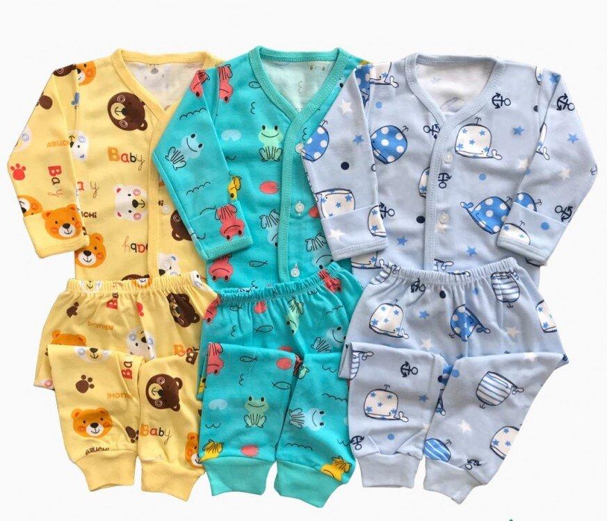 Setelan Baju Baby Panjang / Piyama / Baju Tidur Baby Aruchi Kancing Depan M 20060005 (Premium Quality)