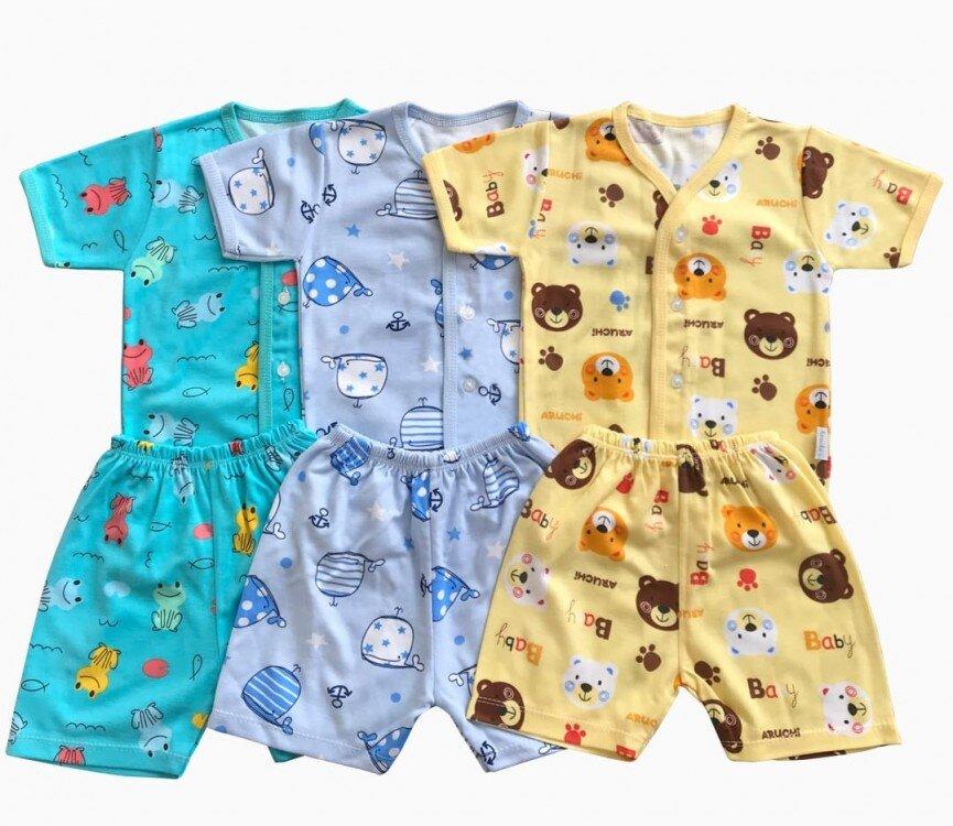 Setelan Baju Baby Pendek Baby Aruchi Kancing Depan S 20060010 (Premium Quality)