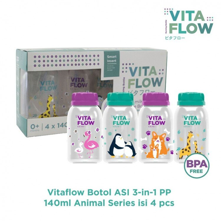 Botol Asi PP VitaFlow Animals Series 140ml 4pcs