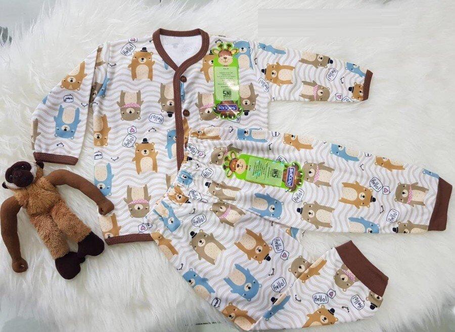 Setelan Baju Baby Panjang / Piyama / Baju Tidur Bayi Ridges Hello Bear M 20080003
