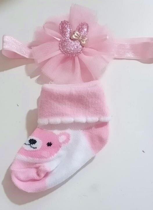 Kaos Kaki + Bandana Set Bear Pink 20090017
