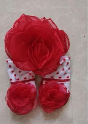 Kaos Kaki + Bandana Set Rose Dot 20090034