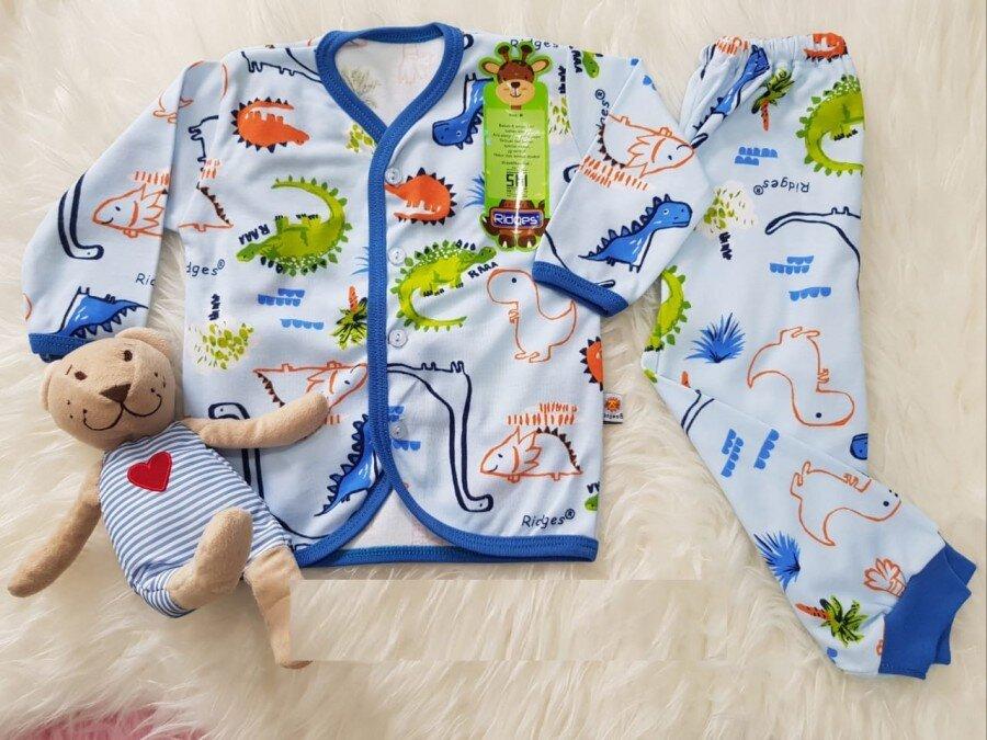 Setelan Baju Baby Panjang / Piyama / Baju Tidur Bayi Ridges Dino Land M 20110051