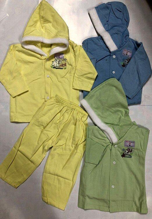 Setelan Baju Baby Panjang / Piyama / Baju Tidur Bayi Topi 0-1 tahun 20090045