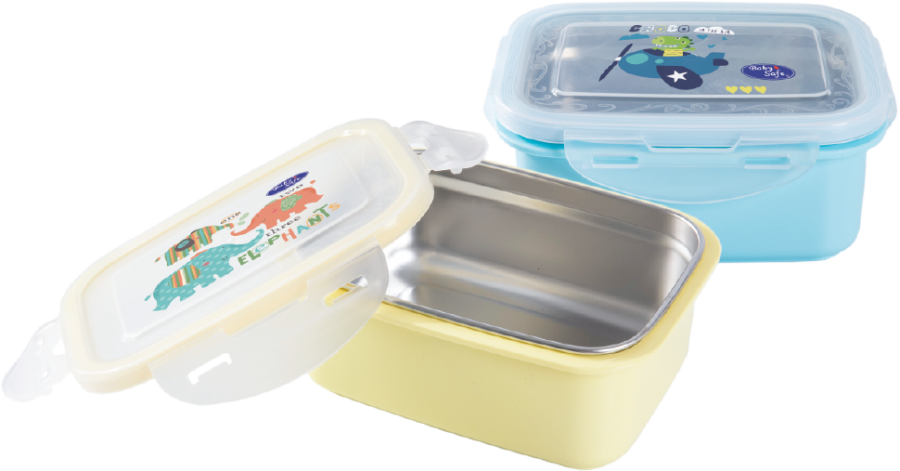 Kotak Makan Stainless Baby Safe  360 ml (Stainless Lunch Box Square)