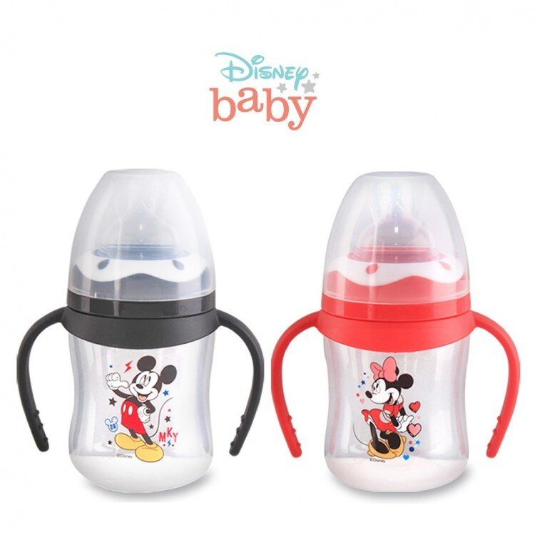 Botol Susu Bayi Mickey Minnie Wide Neck Pegangan Lusty Bunny 125ml 20100021 (with Handle)