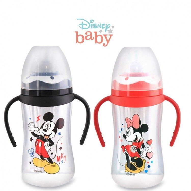 Botol Susu Bayi Mickey Minnie Wide Neck Pegangan Lusty Bunny 250ml 20100022 (with Handle)