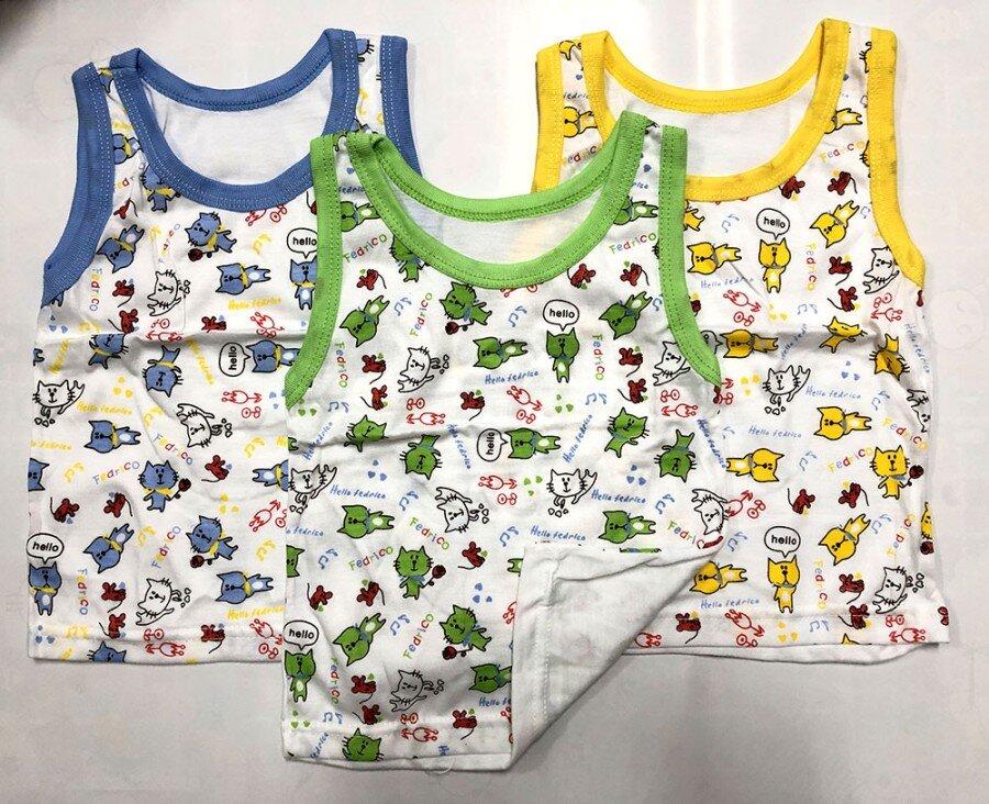 Baju Atasan Singlet Anak Hello Fedrico Cats M (Sablon) 20100107