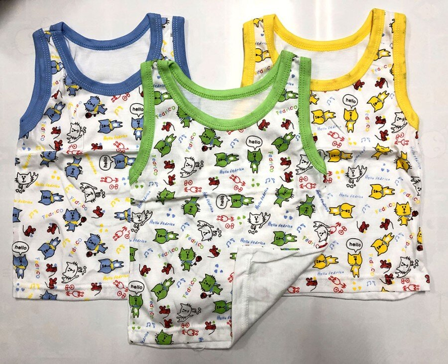 Baju Atasan Singlet Anak Hello Fedrico Cats L (Sablon) 20100108
