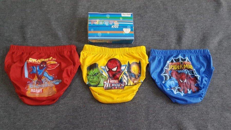 Celana Dalam Anak Ridges Spiderman Warna Isi 3 Size L 20100089