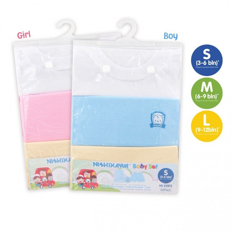 Setelan Baju Bayi Buntung / Nishikawa Baby Set Buntung Size L