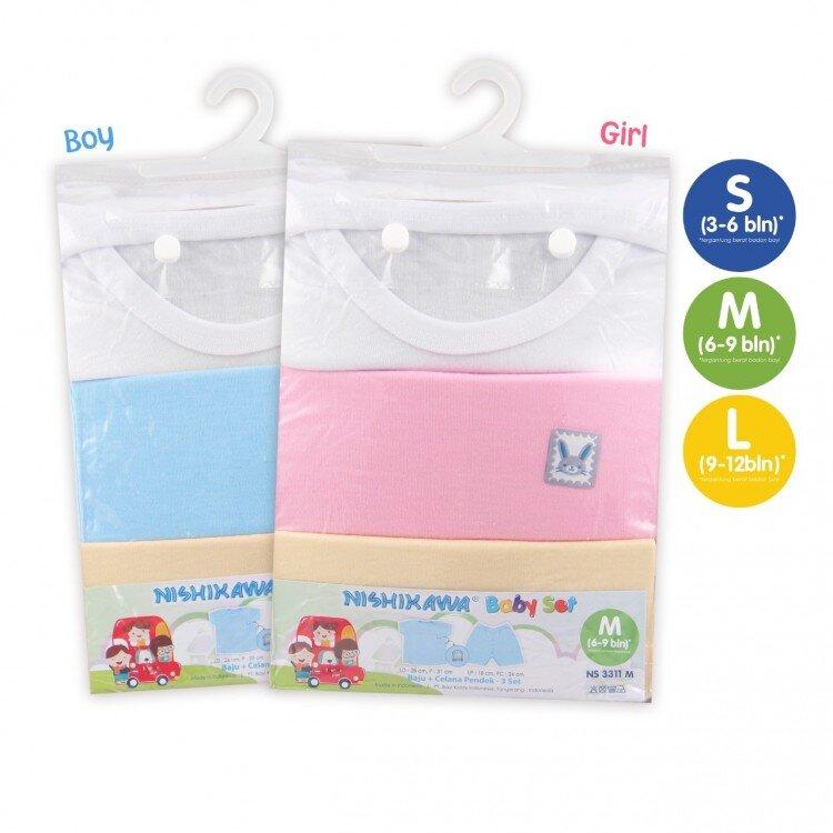 Setelan Baju Bayi Pendek / Nishikawa Baby Set Pendek Size L