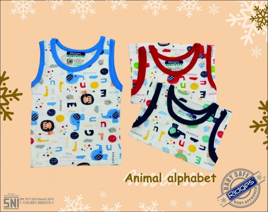 Baju Atasan Singlet Anak Ridges Animal Alphabet M 20120038