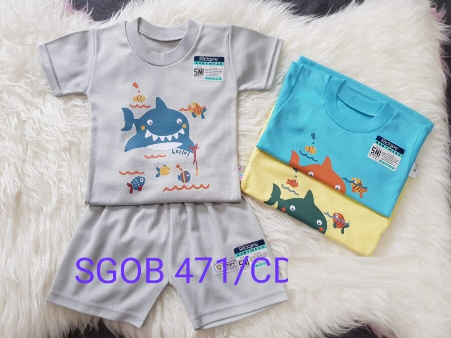 Baju Atasan Kaos Anak Ridges Hello Shark XL 20120066 (Atasan Saja)