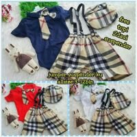 Setelan Baby Laki-laki Blueberry Jumper + Suspender + 2 Dasi + Topi 21010051