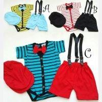 Setelan Baby Laki-laki Salur Jumper + Suspender + Topi 21010049