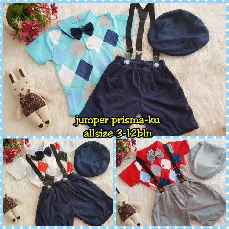 Setelan Baby Laki-laki + Suspender + Topi 21010048