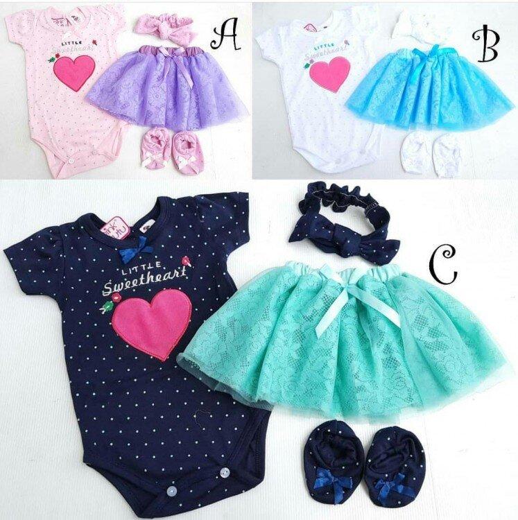 Setelan Baby Cewek Little Sweetheart Jumper Tutu + Bandana + Sepatu 21010053