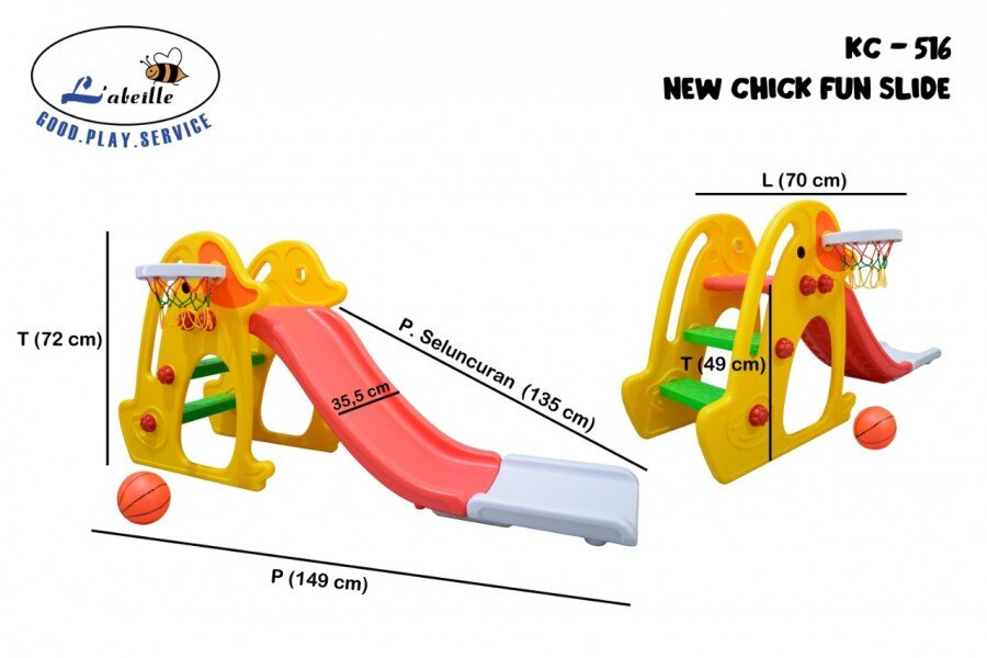 Mainan Perosotan Anak New Chick Fun Slide Merah Kuning
