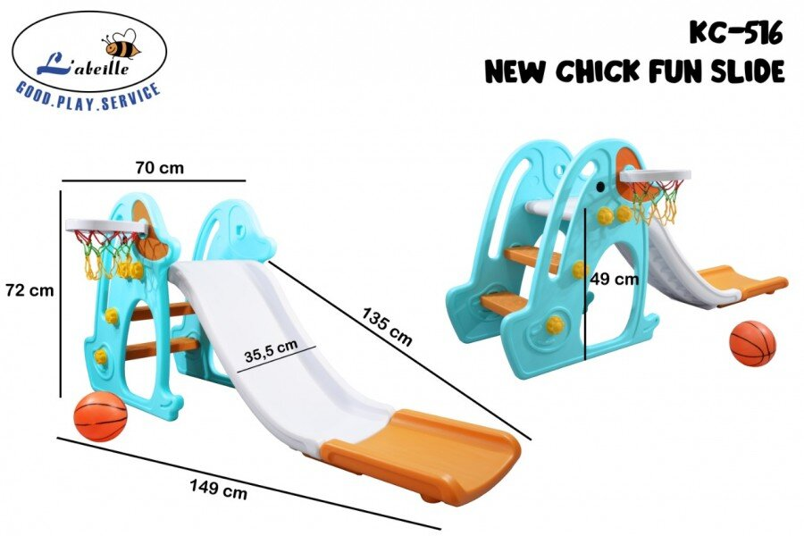 Mainan Perosotan Anak New Chick Fun Slide Biru Putih