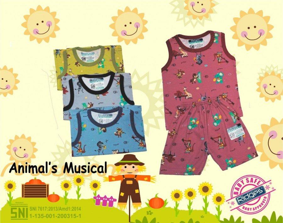 Atasan Singlet Anak Ridges Musical Animals M 21040024 (Atasannya Saja)