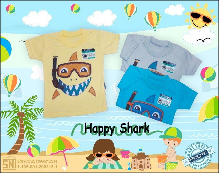 Baju Atasan Kaos Anak Ridges Happy Hiu S 21030045