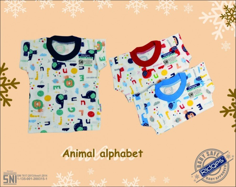 Baju Atasan Kaos Anak Ridges Animal Alphabet L 21010058