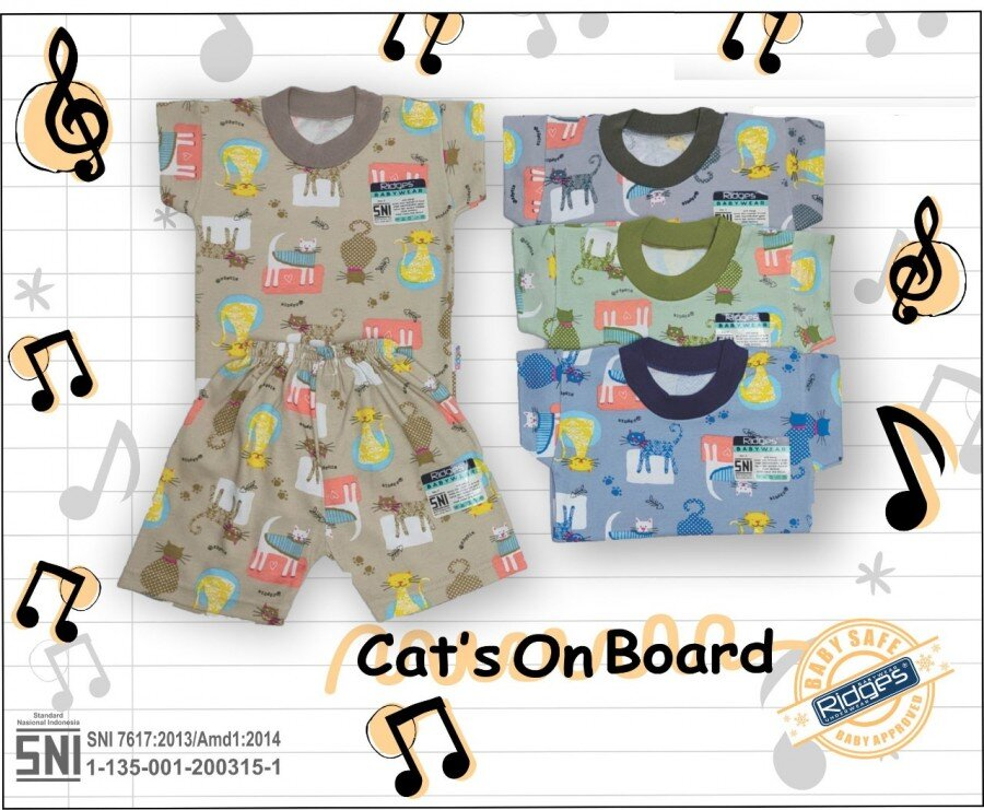 Baju Atasan Kaos Anak Ridges Cat's on Board M 21020083 (Atasan Saja)