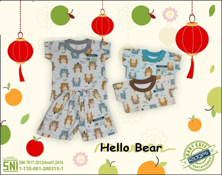 Baju Atasan Kaos Anak Ridges Hello Bear S 21020015 (Atasan Saja)