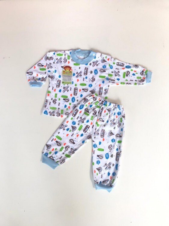 Baju Tidur Bayi Print Putih Excellent77 Kancing Pundak 21030075