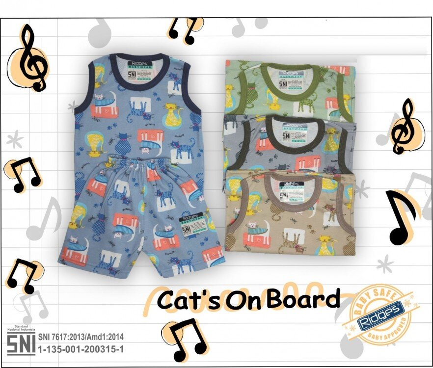 Baju Atasan Singlet Anak Ridges Cat's On Board M 21020079 (Atasannya Saja)