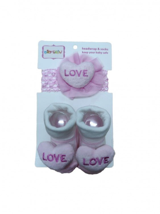 Kaos Kaki + Bandana Set Love Pink 21050007