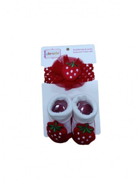 Kaos Kaki + Bandana Set Strawberry Merah 21050006