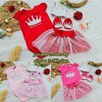 Setelan Bayi  Cewek Crown Princess  21060059 (Jumper + Rok Tutu + Bandana Mahkota + Sepatu Mahkota)